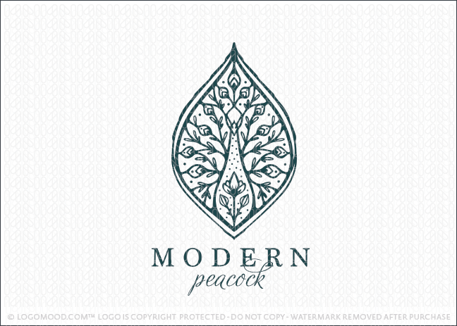 Modern Elegant Peacock Leaf & Floral Logo For Sale