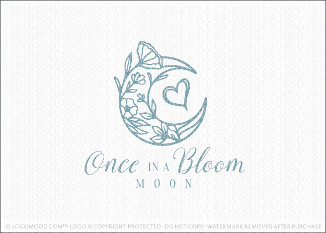 Blooming Floral And Leaf Moon Love Logo For Sale