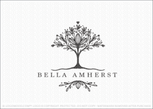 Flourishing Floral Rooted Tree Logo For Sale