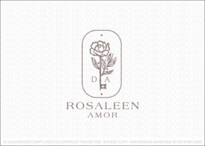 Natural Beauty Elegant Rose Flower & Key Logo For Sale