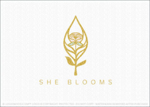 Floral Rose Bloom And Leaf Logo For Sale