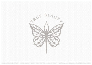 Beautiful Woman Butterfly & floral Logo For Sale