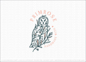 Floral and foliage Tree Owl Logo For Sale