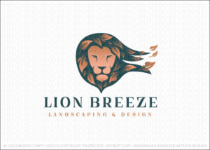 Lion Animal Head Blowing Leaves Landscaping and Design Logo For Sale