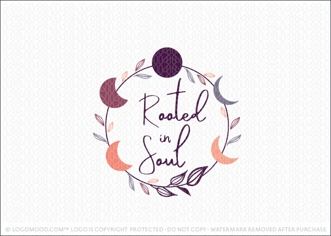 Rooted In Soul Holistic Spiritual Moon Wreath Logo For Sale