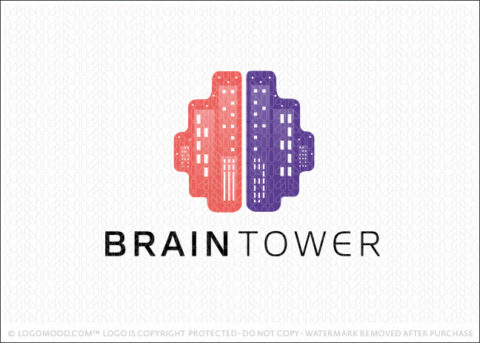 Brain City Scape Tower Logo For Sale
