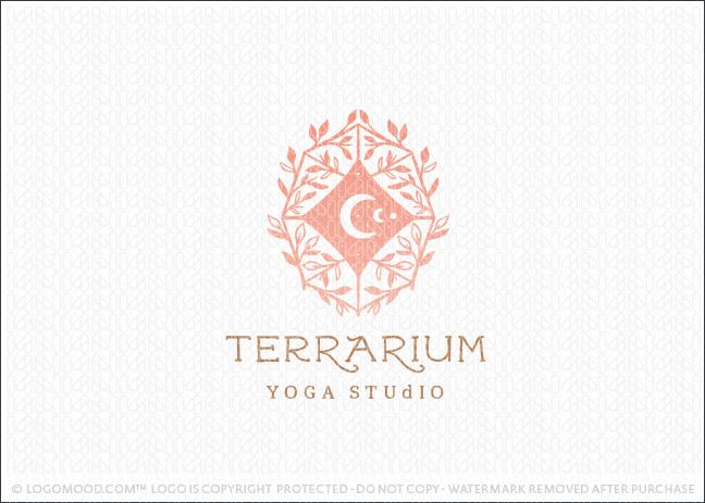 Holistic Leaf Vine Galaxy Terrarium Logo For Sale
