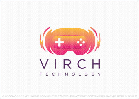 Virtual Reality Headset Technology Logo For Sale