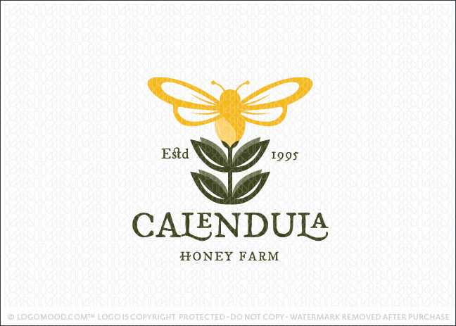 Blossoming Foral Honey Bee Farm Logo For Sale
