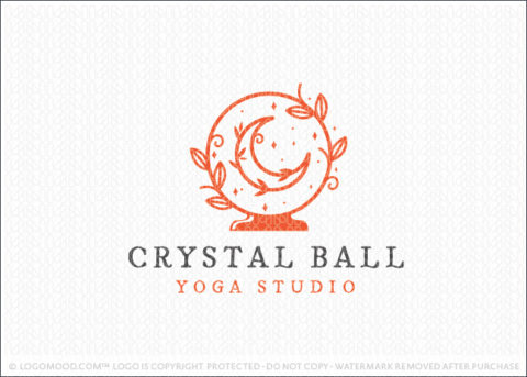 Crystal Ball Holistic Crescent Moo And Universe Logo For Sale