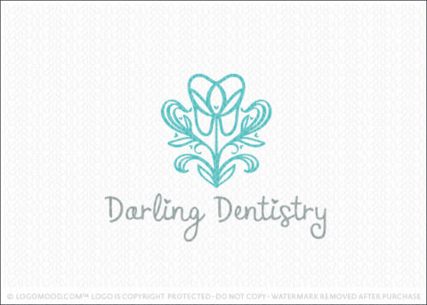 Blooming Floral Dental Tooth Logo For Sale