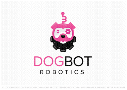 Dog Bot Robot Gear Logo For Sale