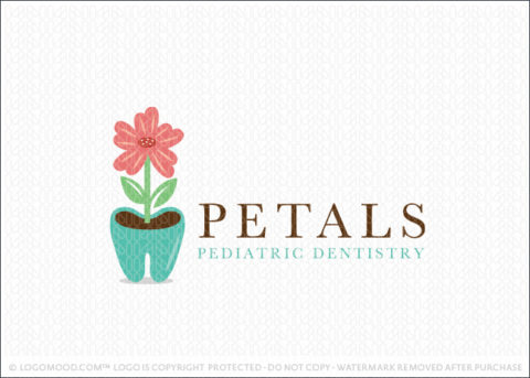 Potted Floral Tooth Pot Dental Paediatrics Logo For Sale