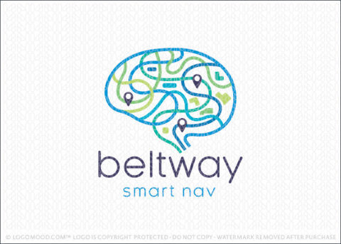 Brain Smart Highway Navigational Brain Logo For Sale