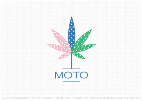 Modern Fun Retro Cannabis Leaf Logo For Sale