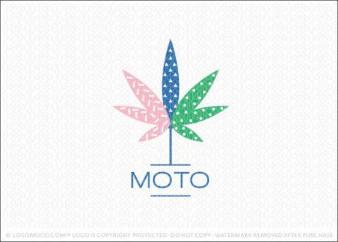 Modern Fun Retro Cannabis Leaf Logo For Sale