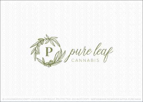 Pure Leaf Cannabis Marijuana Leaf Wreath Monogram Logo For Sale