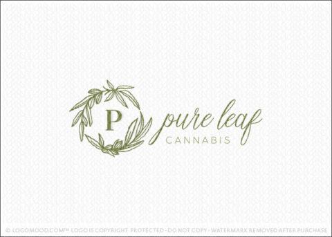 Pure Leaf Cannabis Marijuana Leaf Wreath Monogram Logo For Sale