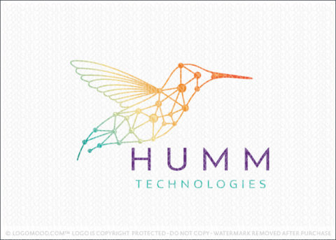 Modern Technology Humming Bird Data Line Logo For Sale