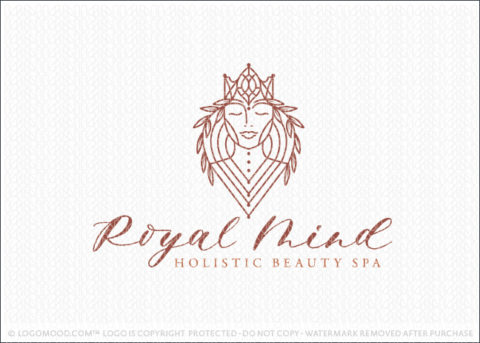 Royal Crown Holistic Beauty Woman Logo For Sale