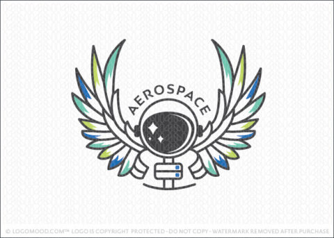 Winged Space Astronaut Logo For Sale
