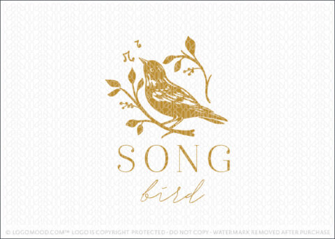 Golden Rustic Singing Bird & Branch Logo Design For Sale