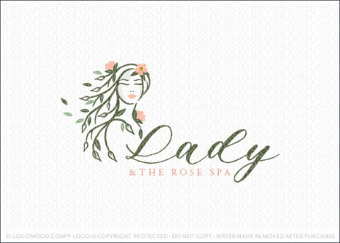 Beauty Woman Lady Natural Tree Branch Logo For Sale