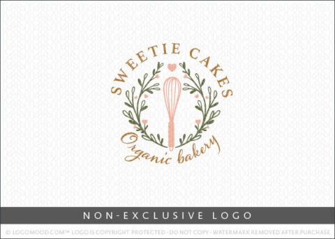 Bakery Whisk Wreath Country Organic Bakery Non-Exclusive Logo For Sale LogoMood