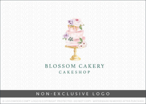 Watercolor Blossom Bakery Cakeshop Cake Non-Exclusive Logo For Sale LogoMood