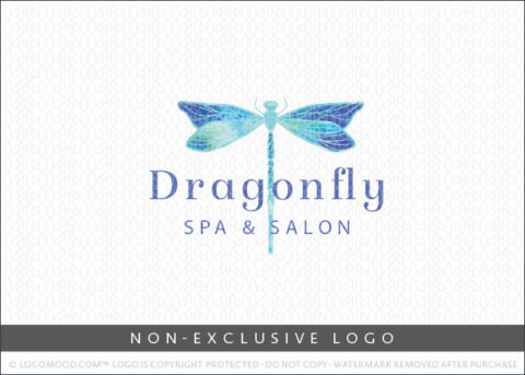 Blue Aqua Watercolor Artistic Dragonfly Non-Exclusive Logo For Sale LogoMood