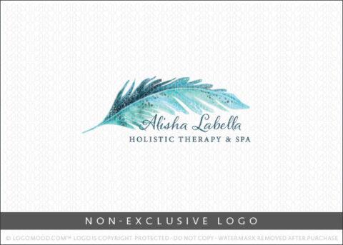Watercolor Aqua Blue Artistic Boho Feather Non-Exclusive Logo For Sale LogoMood