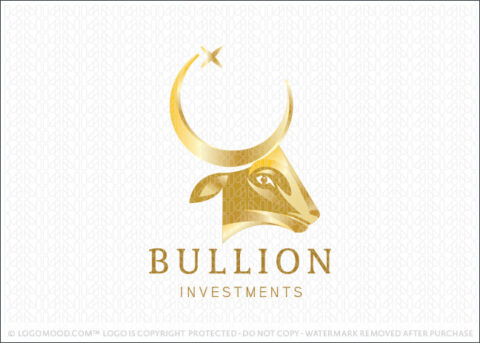 Golden Elegant Bullion Bull and Moon Logo For Sale Logo Mood