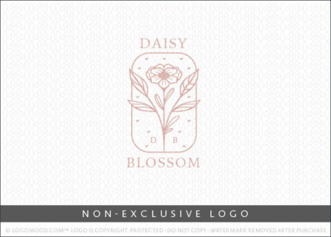 Daisy Blossom Floral Monogram Crest Non-Exclusive Logo For Sale LogoMood