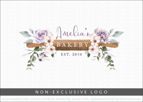 FloralWatercolor Bakery Rolling Pin Non-Exclusive Logo For Sale LogoMood