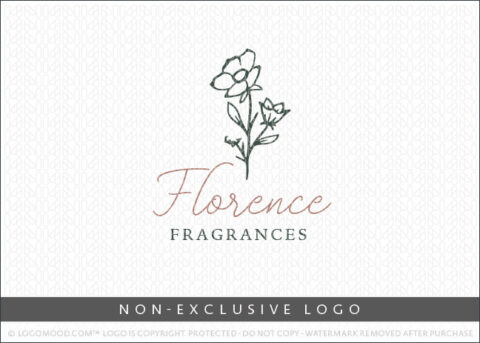 Blossom Floral Line Art Non-Exclusive Logo For Sale LogoMood