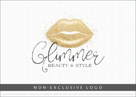 Gold Glimmer Glitter Lips Beauty Makeup Non-Exclusive Logo For Sale LogoMood