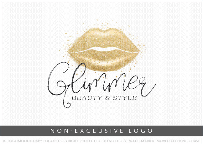 Glimmer Beauty & Style Gold Lips – Non-Exclusive Logo
