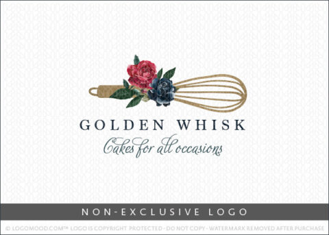 Golden Floral Whisk Bakery Non-Exclusive Logo For Sale LogoMood