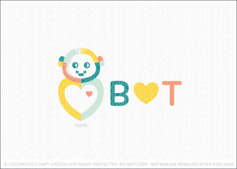 Colourful Heart Bot Robot Logo For Sale