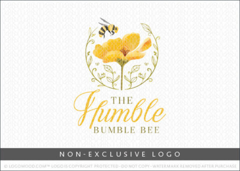 Watercolor Floral Bumble Bee Non-Exclusive Logo For Sale LogoMood