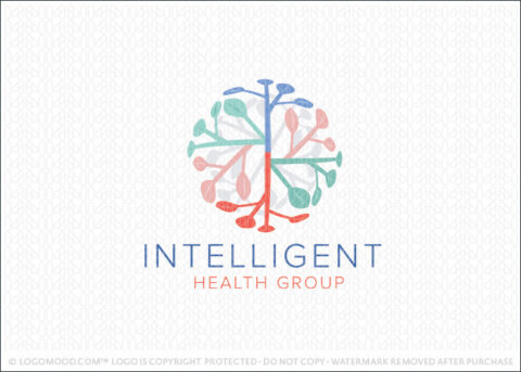Abstract Leaf branches and brain health Logo For Sale Logo Mood.com