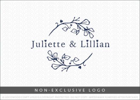 Juliette & Lillian Floral Branch Wreath Non-Exclusive Logo For Sale LogoMood