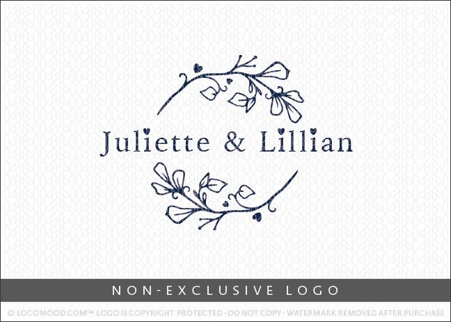 Juliette & Lillian Floral Branch Wreath Non-Exclusive Logo For Sale LogoMood