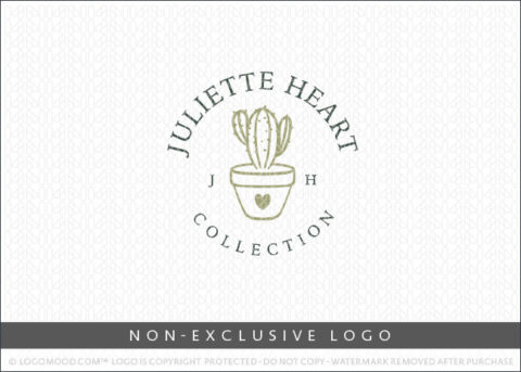 Juliette Heart Cactus Heart Potted Plant Non-Exclusive Logo For Sale LogoMood