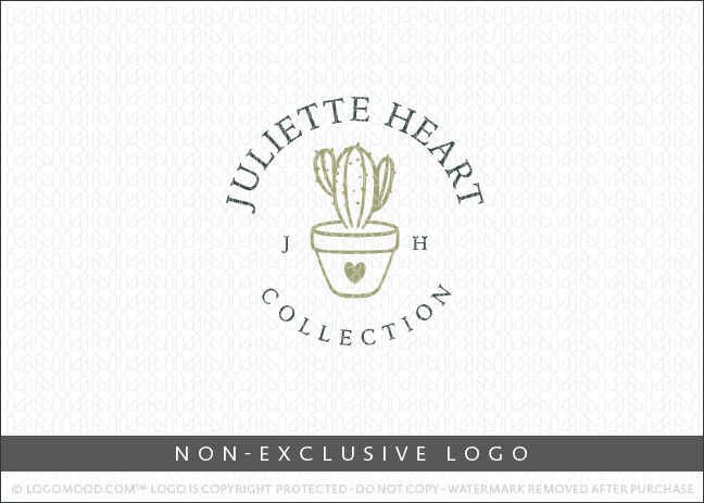 Juliette Heart Cactus Heart Potted Plant Logo
