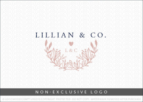Lillian & Co Crescent Floral & Foliage Non-Exclusive Logo For Sale LogoMood