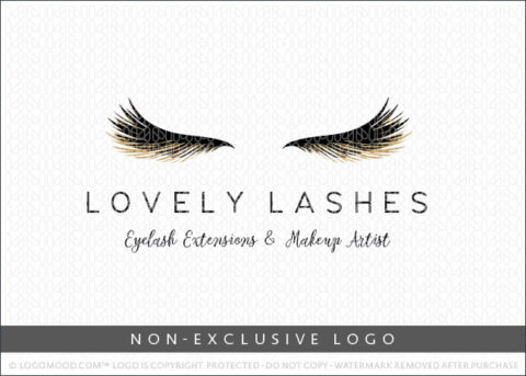 Lovely Lashes Eyelash Extensions & Makeup Artist Non-Exclusive Logo For Sale LogoMood