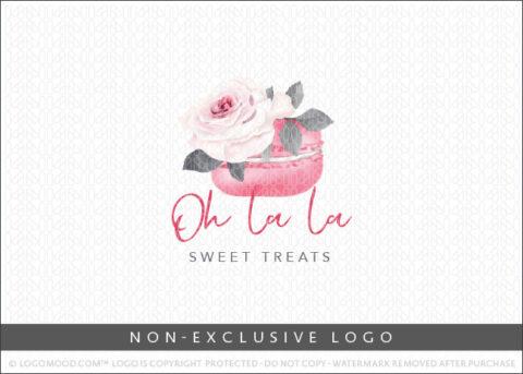 Oh La La Pink watercolor Floral Frech Macaron Non-Exclusive Logo For Sale LogoMood