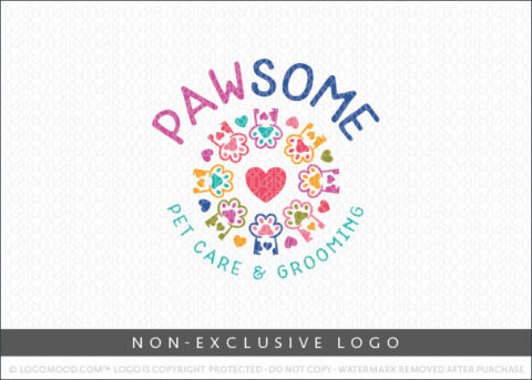 Pawsome Pet Care & Grooming Pet Paws Non-Exclusive Logo For Sale LogoMood