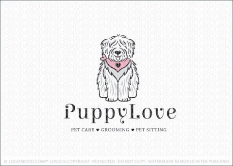 Cute Puppy Love Sheep Dog Logo For Sale By Logomood.com